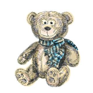 位图 jpg 玩具 毛绒玩具 泰迪熊 局部图案 休闲风 复古风