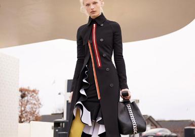 2017-2018秋冬订货会的品牌中,Ava Adore、Stella McCartney、PRADA、Marni和Moschino等品牌推出的大衣较多,其中PRADA以图案和面料为主,款式修身收腰设计。这季的大衣重点是图案和工艺细节,整体偏女性化风格。