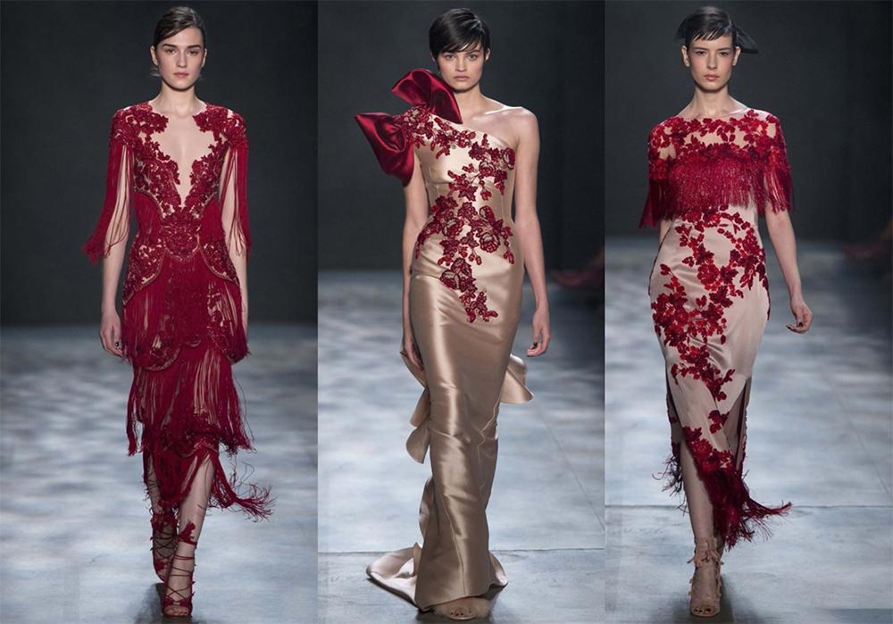 """玛切萨 (Marchesa) 品牌名源于玛切萨·路易莎·卡萨提 (Marchesa Luisa Casati) 的名字""""玛切萨·路易莎·卡萨提(Marchesa Luisa Casati) 生前的着装品味是出名的夸耀奢华""""。颜色是本期Marchesa秀场上的大故事。多彩多姿的流苏,柔和的彩虹色刺绣,红樱花图案,红棕色的缎子 - 这些作为闪电,由Keren Craig和乔治娜·查普曼温柔地抛下。设计师的灵感来自中国和周末的电影,如告别我的妃,并添加了一点旧的上海魅力。"""
