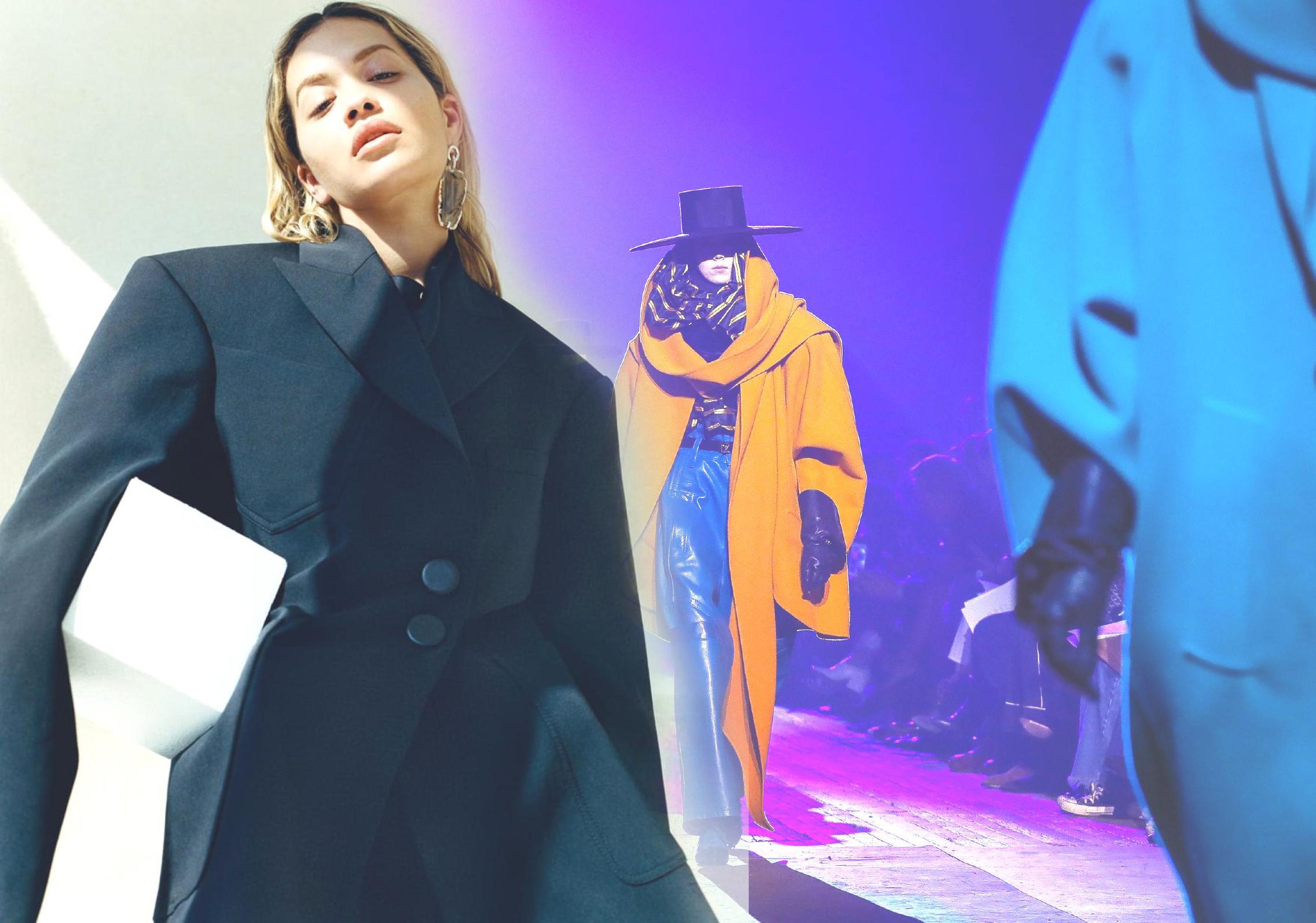 本季大衣毛呢面料上可以看到大量醒目色彩,從飽和色系到熒光筆亮色無所不有,其間是各式紅色和黑色。紅色強調力量,柔和的化妝品色系包含駝色,強調懷舊感。藍色進一步強化女人味從熒光黃到芥末黃,各種黃色提亮整個大衣造型,讓服裝如陽光般奪目從電子藍到矢車菊藍,藍色成為更清新的色選,與黑色構成完美對比。
