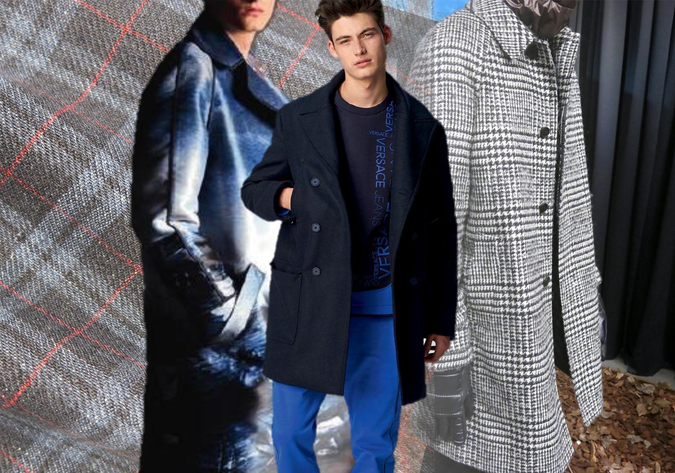 此次18/19秋冬男装订货会上的大衣面料色彩与POP网站上秀场提炼得出的数据占比基本一致。古墓黑与建筑灰依旧占比很高,另外,红色系中的伦巴红、蓝色、绿色、杏仁米也呈现出不错的占比。格纹呢、千鸟格这些经典面料依旧持续发热,字母毛呢以及拼接毛呢这一街潮风格的面料在此次订货会上呈现上升趋势。