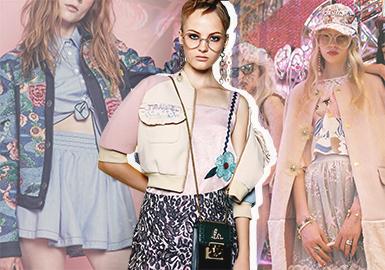 2018早秋外套市場,最為亮眼的設計主要體現在:瑩然翩翩的蕾絲拼接外套、藝術感滿身印花外套、細膩立體繡花外套、西裝改良外套、以Chanel的經典粗花呢作為延展的名媛風外套等都帶來新的設計趨勢。