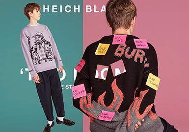 "HEICH BLADE是Heich Es Heich品牌旗下打造的全新设计师品牌,是主要服务于年轻男女的品牌,深受年轻偶像和时尚潮人的喜爱。18/19秋冬以男女同款的""TOW ROOMS""为主题,展现出温暖舒适、柔和的街潮风格。"