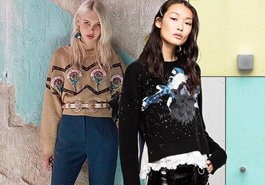 18/19秋冬广州批发市场的女装毛衫在工艺方向尤为精彩,刺绣、贴布以及珍珠的使用,整体呈现出活泼的靓丽感;而针法的变化更加精细考究。
