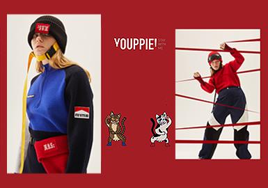 """YOUPPIE!创立于2013年,其意源于法文中的语气词""""欢呼"""",品牌创始人Melon Xu的设计大胆夸张、个性独特,擅长将生活和时尚潮流结合,注重板型和细节的处理,重视时尚与大众的连接,创造个性趣味的穿着体验。"""