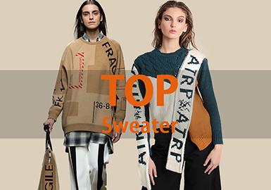 1月用户下载互动数据综合评选出女装毛衫套衫TOP热榜中,款式以时尚休闲为主要风格,字母图案依旧为热门元素,工艺上针法、提花为常用手法,拼接比例有所提升,成为需要关注的热门工艺。