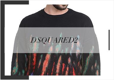 Dsquared2在19/20秋冬毛衫设计更加丰富多彩,扎染、运动图案的运用、成衣工艺在毛衫上的使用等都展现出毛衫的更多可能性,张扬个性同时又保持了很好的实穿效果。