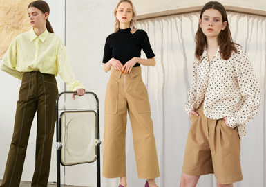 春夏之际,一系列的西装和休闲款式在裤装类别扮演重要角色。各种各样的轮廓是春夏系列的关键,包括宽大的百慕大短裤,有飘逸感的围裹设计,都是春夏季值得关注的焦点设计。