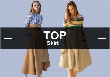 3月的款式库中,半裙以棉麻风格为主导,工艺以压褶运用最多