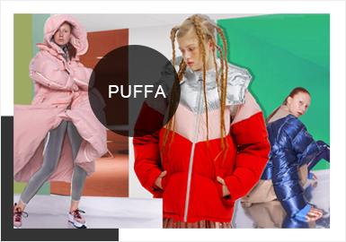 棉羽絨作為秋冬季重點單品著裝帶來保暖與潮酷的外在形態,一直備受關注,在19/20AW秀場以及街潮達人資訊反饋,羽絨服的形象繽紛多樣,如棉羽絨在造型上的撞色分割、戶外感受廓形設計、功能性設計、以及酷感機車棉羽絨等等;這些設計手法為羽絨服在形態上注入新鮮感元素,讓羽絨服在款式變化上更加具有風格感受。