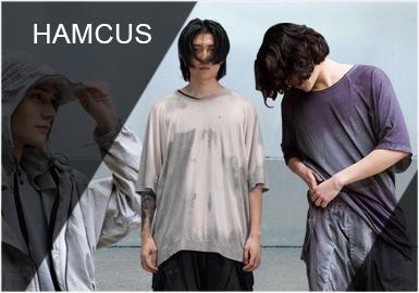 品牌HAMCUS一直以來都秉承著獨特的風格。19SS以ADAM(亞當)為靈感,繼承HAMCUS獨特的宇宙角色風格系統概念,以各種獨特剪裁的外套,長褲等單品去展現這個異景世界的派別服飾。軍事機能風格得到廣泛好評,溫變染色科技、解構、水洗做舊等設計手法在本季大量運用。