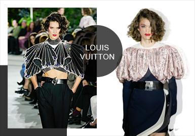 最新一季 Louis Vuitton 2020 早春系列選址于紐約肯尼迪機場第五航站樓,本季度主題為致敬史上首位女性飛行員Amelia Earhart,同時Amelia Earhart也是位女權運動者,這一季造型上應用飛行員帽子和眼鏡,和大量的水晶、金屬等裝飾素材;裁剪延續80年代的強勢,也不乏表達女性線條的細節。