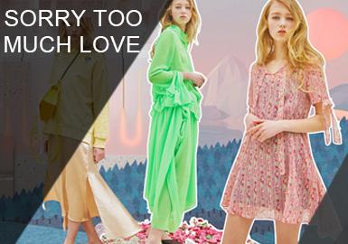 sorry too much love是韓國非常受歡迎的設計師品牌,擅長甜美淑女風,本季特別喜愛馬克龍色調,面料的選取上也是夢幻多變顏色,以及朦朧透視性感蕾絲面料。sorry too much love將當下最新的杏粉色巧妙的運用在小衫以及連衣裙中,迎合當下女性消費者夢幻之夢。主講的時尚單品有:連衣裙、小衫、衛衣、T恤等等。
