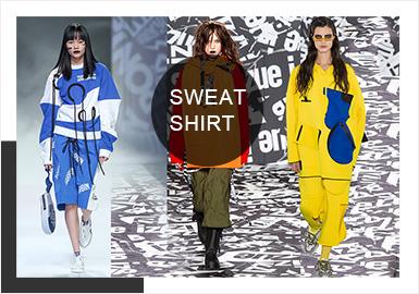 针对19/20秋冬卫衣的提炼,在色彩方面展现新一季卫衣的独特魅力。本季卫衣除了经典的黑白灰系列,黄色系、蓝色系、红色系和莫兰迪色系在本季卫衣秀场上大放异彩,通过不同面料的碰撞和创意的细节设计为新一季卫衣增添色调的同时满足各个群体的色彩需求。