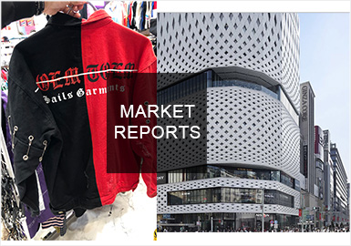 2019春夏的日本市场,保留本土服装风格的同时紧跟市场潮流,个性数字印花时尚街头,创意拉链、绳带、金属别针的运用平衡朋克与实穿,织带的装饰性和实用性运用展现个性魅力的既视感。