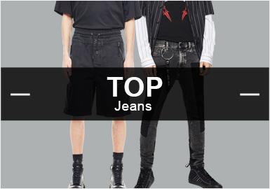 6月份款式庫中牛仔褲單品流行方向分析,以街頭潮牌風格為主,同比增長5%,時尚休閑類單品十分平穩。圖案工藝類字母圖案有所提升增長為2%,而拼接工藝也是牛仔單品中重要的工藝手法,同比增長6%。