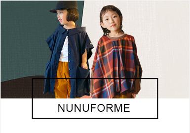 """极具裁剪特色的日本童装品牌""""Nunuforme?#20445;?#20197;时尚休闲两个关键?#39318;?#20026;产品指导,注重""""简""""色""""繁""""裁设计。在这里你不仅可以看到一些在其他品牌很少使用的独特裁剪,还能看到简约的色彩款式搭配方式。"""