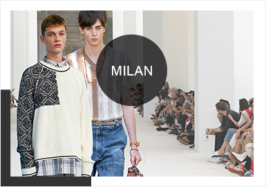 2020春夏米兰男装周环保理念愈发成为趋势,从Ermenegildo Zegna到Corneliani,从Marni到SUNNEI,他们纷纷借助空间环境去阐述新系列,从不同角度去理解、去定义,强调环保对于人类发展的影响。服装整体风格整体偏向于文艺又绅士的意式风情,本文将从色彩、款式、工艺、针法&纱线以及图案5个维度对2020春夏米兰男装毛衫进行分析。
