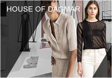 House of Dagmar是一個年輕的瑞典時尚設計師品牌,由Karin Soderlind、Kristina Tjader、Sofia Wallenstam姐妹三人共同經營,成立于2005年,品牌名得益于祖母Dagmar,服裝系列以實穿耐用為理念,以可持續發展和永恒制造為核心,選用專業認證的有機棉、再生聚酯纖維、生態再生羊絨等有機面料和紗線,融入系列創作,設計風格體現建筑與圖案藝術結合之美,詮釋現代女性高品質精神及文化生活。