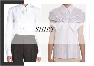 襯衫在2020春夏季訂貨會中,整體以中少淑風格為主,注重在局部裝飾細節工藝上進行設計,且應用包邊,新型局部形狀作為主要元素,大膽應用蕾絲等面料進行設計。讓襯衫的舒適性與設計感并存。