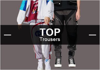 6月份款式庫中褲子單品流行方向分析,時尚休閑與時尚機能風格占比不相上下,尤其是以目前國潮品牌的崛起,時尚機能風格依舊以持續上升的趨勢占領風格主導地位,而運動休閑類褲子單品,也在不斷的攀升。工藝類以拼接工藝和輔料織帶的裝飾起到決定性因素。