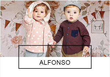 "Alfonso是Zero to Seven经营的韩国婴幼儿童服饰用品的主力品牌之一,主要定位于休闲牛仔产品,时尚、舒适,表现牛?#34892;?#38386;的合理价值。Alfonso品牌并非传统意义上的婴幼儿品牌,而是一个代表全新的?#25293;睢?#26412;季秋冬的新品中,Alfonso依然遵循着品牌的风格定位,?#38750;?#24515;灵上的""乐趣""和美国式""自由?#20445;?#20026;每一个酷酷的孩子创造出明亮的颜色和设计。"