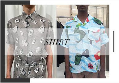 2020春夏男裝訂貨會襯衫款式,以格紋、字母元素、拼接工藝為重點,其中改良版的夏威夷襯衫以十分挺括的形象出現在視野。而襯衫單品在領部細節上也是表現十分凸出。