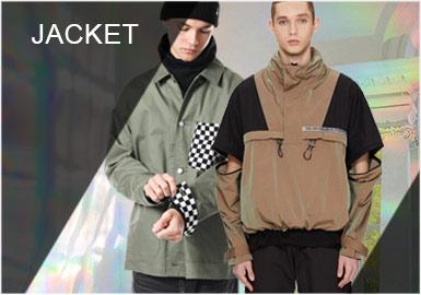 2019秋冬男装夹克单品依旧以运动风格为主,无论是工装衬衫夹克、教练夹克还是运动套头夹克和专业性的功能夹克,在秋冬季十分受欢迎。整体的设计依旧延续运动街头风造型融入细节点。