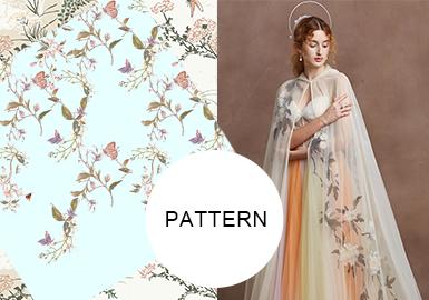 鏡花 · 水月國風花卉刺繡--女裝圖案趨勢