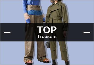 根据POP9-10月份女装TOP款式库数据分析,裤子的风格以简约中淑为主,运动机能、时尚休闲次之,其余为先锋潮牌。在裤子图案中,以字母为主、其次为条纹、植物花卉图案。工艺上以拼接、解构、打结等工艺为重点表现手法。