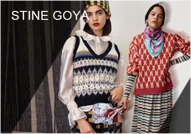 """Stine Goya毕业于伦敦中央圣马丁艺术与设计学院,于2006年在丹麦哥本哈根创立了自己的同名品牌,将现代主义思想与传统设计文化相结合,既注重产品的实用功能,又强调人文因素,鲜艳的色彩、建筑感的廓形与趣味印花备受时尚界所关注。19秋冬系列,设计师以1966年知名作家杜鲁门·卡波特(代表作《蒂凡尼的早餐》)所举办的黑白舞会为灵感,着眼于Lee Razdiwill、Marella Agnelli等上流社会名媛的夜间装扮,从考究剪裁以及服饰搭配间汲取灵感,塑造带有品牌自我个性的""""传奇之夜""""时尚单品。"""