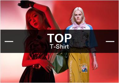 根据POP十月用户下载量TOP100女装T恤数据分析,T恤的风格以运动休闲为主,先锋潮牌、少淑女风次之,其余为简约中淑。在T恤图案中,以字母为主、其次为人物、植物花卉图案。工艺上以拼接、镂空、大小荷叶边装饰等工艺为重点表现手法。