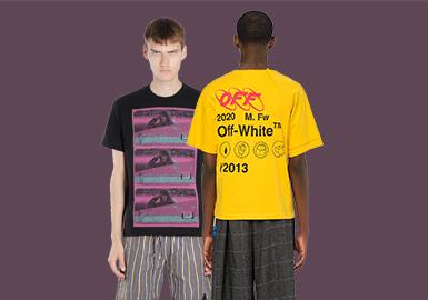 2019AW男装T恤设计也是越来越多元,图案类元素以风景照片、人物肖像、字母元素以及带有街潮效果的印花设计为主。对于款式廓形上的处理多以小高领T恤、假两件T恤、对称式图案长袖T恤以及拼接T恤为主要廓形代表。