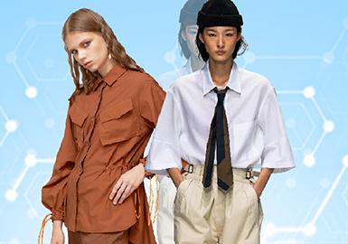 根据POP十月用户下载量TOP100女装衬衫数据分析,其中简约中淑风格为月内主要关注风格。图案上应用花卉、植物印花成为主流图案方向,繁复印花略有增长。镂空工艺关注度迅猛增长,拼接、解构工艺关注度有所放缓。