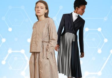 基于POP用户近一个月的下载互动数据,综合评选出连衣裙TOP热榜。连衣裙的风格以简约中淑为主(48%),少淑女风占比次之(36%),运动休闲风格在本月有所下滑占比12%。整体廓形上X型的收腰女风连衣裙占比较多(37%),其次H型的连衣裙占比15%,代表娃娃衫的A型裙占比8%。工艺方面拼接与荷叶边仍有较大占比份额,本月的褶裥也成为用户热门关注的工艺(22%)。