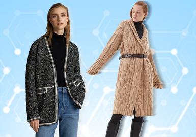 女裝毛衫大衣在零售市場中以簡歐中淑風格為主導,相較短開衫、夾克等單品,大衣在款式長度、紗線選擇(羊毛、羊絨類)等方面成本較高,因此運動休閑與少淑女裝等風格在該單品的呈現并不突出,基于用戶下載互動數據,評選出11月女裝毛衫大衣TOP熱榜。圖案與工藝的運用依舊是市場關注要點,方塊、菱形、圓形等抽象或具象的幾何花型占據圖案類型近半比例,表現搶眼,是今季毛衫客戶重點參考元素,動物花型涵蓋豹紋、斑馬紋等獸紋樣式及常規形態,與其他元素的結合更加引起關注。大衣的解構形式與針法變化更是簡歐中淑風格下的重要手法,盡情演繹時尚大氣之姿。