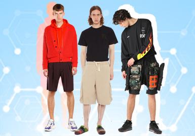 根據POP12月份用戶下載量的TOP100男裝短褲數據分析,運動休閑風格占據27%最多,其次是街頭潮牌和時尚休閑風格。廓形方面,五分寬松短褲占比最多11%,其次是三分田徑運動褲以及西裝短褲。輔料方面以運動搭扣和彈性抽繩占比明顯,也是因運動風格的風靡導致。