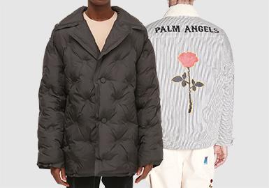 棉羽绒是秋冬季节必不可少的单品之一,20/21秋冬男装订货会棉羽绒款式以棒球款、面包服为基本单品,运动休闲风格依然有增无减,成为20/21秋冬的主流风格之一。羊羔绒款式以材质和色块拼接设计,为款式注入更多设计灵感,也成为主要面料之一。印花和拼接工艺是每年都会有的设计表现手法,材质上的统一性和品牌logo图案的设计,在一定程度上都增加了精致感和认知度。