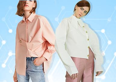 根据POP 1~2月用户下载量TOP100女装衬衫数据分析,简约中淑、少淑女风格为月内主要关注风格。图案上应用植物、花卉印花成为主流图案方向,几何繁复印花关注度有明显提升。拼接与褶裥工艺关注度依然较高,解构仍是2020春夏衬衫细节设计的关键。
