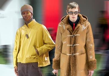 在20/21秋冬T台上,年轻时尚男装的色彩偏明亮感受,比如暖调棕色、跳跃的蓝和炽热的红。相比上一季,应用在皮革皮草上的色彩变得浓郁轻快,不乏大面积亮色的使用,而同色系色彩配比也在各大奢侈品牌秀场中出现,是值得关注的方向。干练廓形延续了正在流行的极简舒适浪潮,而考究造型也为设计师在细节处理上的极致巧思埋下伏笔。由此可见,在20/21秋冬,运用全新的创意变化为单品增加更多可能性是使品牌脱颖而出的关键。