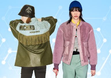 基于POP用户下载互动数据,综合评选出女装皮革皮草单品TOP热榜。在近一个月榜单中,女装皮革皮草款式以简欧中淑和运动休闲风格为主。廓形上,中性宽松版型和运动休闲版型的受关注度在增长;偏商务风的直身风衣和及腰短夹克也体现出极高的市场价值。在工艺方面,大色块拼接尤为重要,尤其是黑白撞色设计。面料上,皮毛结合的款式增多,用户关注的重点在除颗粒绒以外的其他皮草上。