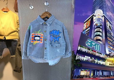 通过对韩国童装批发市场的实时跟进与分析,在本季春夏的市场亮点颇多。其中文字图案印花是本季印花的主要表现形式,而在廓形上假两件的廓形在市场上有较高占比,融合文字印花的牛仔款式外套拥有较高关注度。