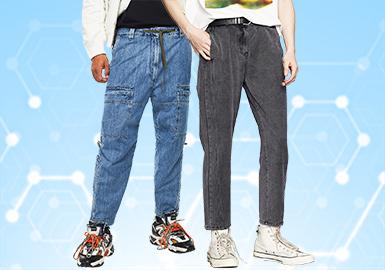 根据POP2月份用户下载量的TOP100男装牛仔裤数据分析,时尚休闲风格占比20%,比上月增长7%成为牛仔裤的最主要风格。街头潮牌有所上升,而工装风有下降趋势。修身牛仔裤在本月成为主要的关注廓形,直筒和束脚牛仔裤其次,工装牛仔裤也有少量关注。工艺方面,猫须、拼接、扎染、晕染及喷溅等工艺都有涉及,也为牛仔裤的设计增色不少。