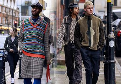 """除却20/21秋冬男装时装周中各大品牌新秀的精彩纷呈,场外时尚弄潮儿的穿搭造型也颇具看点,以""""雅痞气息""""、""""简约工装""""、""""现代民俗""""风格作为男装毛衫的主要造型,潮流的街拍呈现为时尚穿搭带来个性理念,助力毛衫款式的搭配方式。"""