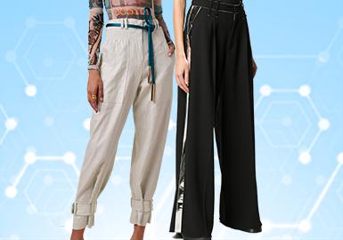 根据POP 2~3月用户下载量TOP100女装裤装数据分析,简约中淑、棉麻风、先锋潮牌风格为月内主要关注风格,款式选择上对应早秋波段,廓形上应用锥形裤和阔腿裤占比较多, 连体裤在本月有明显提升;褶皱、抽绳结构与结构工艺关注度依然较高。