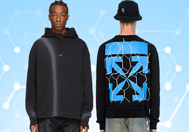 根据POP2月份用户下载量的TOP100男装卫衣数据分析,街头潮牌、时尚休闲和运动休闲类都有一定的增长,其中时尚休闲类增长较多。图案类还是以文字为主要元素,而花卉图案也有少量增长,可持续关注,工艺类,定位印花成为卫衣设计中主要的工艺手法,拼接设计和口袋装饰也占据少部分。