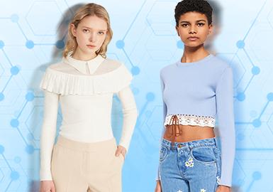 通过对3月份用户下载互动数据的提炼,得出女装毛衫打底衫TOP热榜。除却在风格占比中居于首位的简欧中淑,带有装饰细节的少淑类型打底衫在春夏季节的风格占比有所上升,值得关注。在图案元素运用中,逐步摒弃了单一的提花效果,与针法工艺相结合的毛衫款式更受市场所青睐,条纹花型与细针相融合的打底衫是关键流行点。本文将就核心设计元素进行款式推荐,带来这篇女装毛衫打底衫TOP热榜分析。