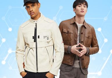 基于POP用户下载互动数据,综合评选出男装皮衣皮草单品TOP热榜。在近一个月榜单中,以商务休闲和时尚休闲风格为主,均占45%,其次先锋潮牌占10%,夹克仍是最受欢迎的单品;受季节影响,皮毛一体、颗粒绒、尼克服和棉服/羽绒服的数量明显降低,皮衣和夹克款式量大大增加。