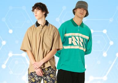 根据POP4月份用户下载量的TOP100男装POLO衫数据分析,商务时尚类风格依旧是市场主流,国潮风格在男装POLO衫单品中以宽松的廓形得到广泛关注。中袖、长袖廓形是POLO单品的重要廓形;前门襟设计、POLO领型以及小面积撞色设计在此单品中以非常明显的设计亮点突破传统POLO衫。