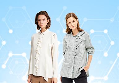 根据POP 5月用户下载量TOP100女装衬衫数据分析,简约中淑、少淑女风格为月内主要关注风格。装饰点应用在领部款式较多,其次是腰部和袖部。荷叶边和细节类装饰工艺关注度依然较高,解构款式还在那边相对有所降低
